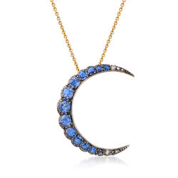 C. 1930 Vintage 2.35 ct. t.w. Sapphire Crescent Moon Pendant Necklace in Sterling Silver and Vermeil With Diamond Accents, , default