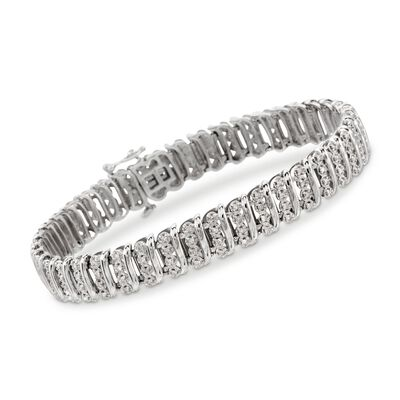1.10 ct. t.w. Diamond Bar Bracelet in Sterling Silver, , default