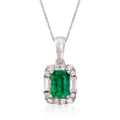 1.00 Carat Emerald and .35 ct. t.w. Diamond Pendant Necklace in 14kt White Gold, , default