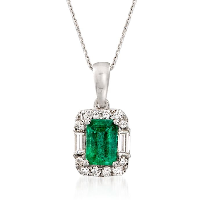 """1.00 Carat Emerald and .35 ct. t.w. Diamond Pendant Necklace in 14kt White Gold. 16"""""""