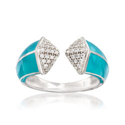 "Belle Etoile ""Pyramid"" Turquoise-Blue Enamel and .25 ct. t.w. CZ Ring in Sterling Silver, , default"