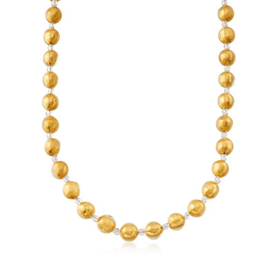Italian 18kt Gold Over Sterling Murano Glass Bead Necklace, , default