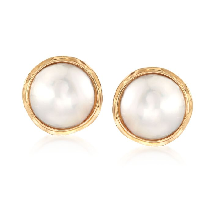 14-15mm Cultured Mabe Pearl Earrings in 14kt Yellow Gold, , default