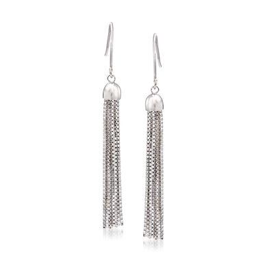 Fringe Tassel Drop Earrings in Sterling Silver, , default