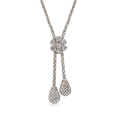 C. 1990 Vintage 2.50 ct. t.w. Diamond Flower Drop Necklace in 14kt White Gold