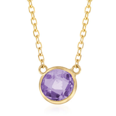 .90 Carat Amethyst Necklace in 14kt Yellow Gold, , default