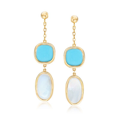 Italian 7x12mm Mother-Of-Pearl and Turquoise Drop Earrings in 14kt Yellow Gold