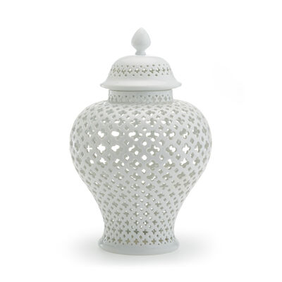 White Carthage Large Pierced Porcelain Lantern, , default