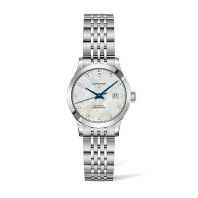 Longines Record Women's 30mm .37 ct. t.w. Diamond Automatic Watch in Stainless Steel Watch