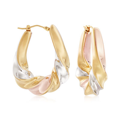 Italian Andiamo 14kt Tri-Colored Gold Scalloped Hoop Earrings, , default