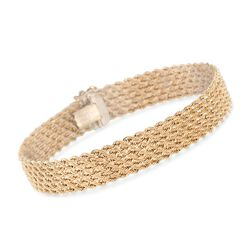 "Italian 14kt Yellow Gold Multi-Row Rope Chain Bracelet. 8"", , default"