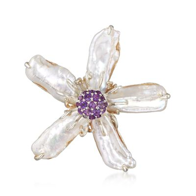 20-22mm X 8-11mm Cultured Baroque Pearl Flower Pin with .80 ct. t.w. Amethysts in Sterling, , default