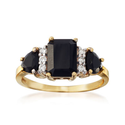 C. 1980 Vintage Onyx and .12 ct. t.w. Diamond Ring in 14kt Yellow Gold, , default