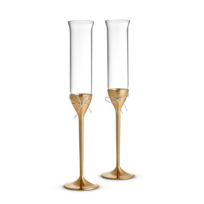"Vera Wang for Wedgwood ""Love Knots"" Gold Toasting Flutes, , default"