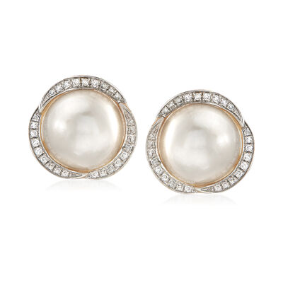 11mm Mabe Pearl and .25 ct. t.w. Diamond Earrings in 14kt Yellow Gold, , default