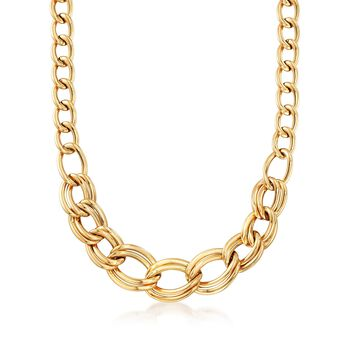 Italian 18kt Yellow Gold Graduated Curb-Link Necklace, , default