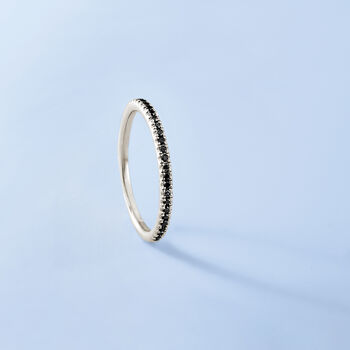 Henri Daussi .15 ct. t.w. Black Pave Diamond Wedding Ring in 18kt White Gold, , default