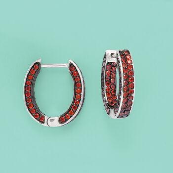 """2.90 ct. t.w. Garnet Inside-Outside Hoop Earrings in Sterling Silver. 3/4"""", , default"""
