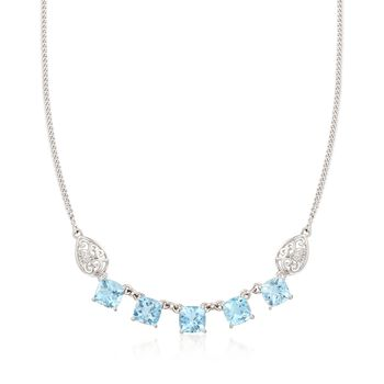 """13.00 ct. t.w. Blue Topaz Necklace With Scrolled Sides in Sterling Silver. 18"""", , default"""