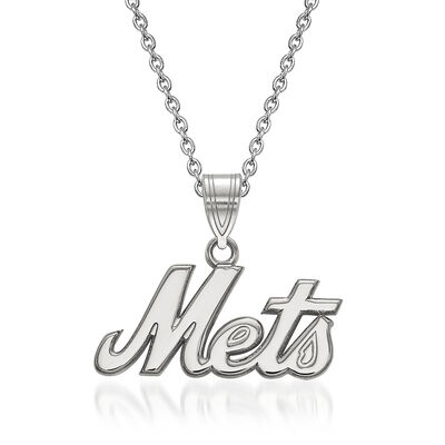 "Sterling Silver MLB New York Mets Pendant Necklace. 18"", , default"