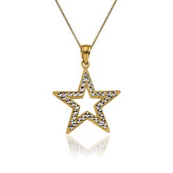 "14kt Yellow Gold Star Pendant Necklace. 18"", , default"