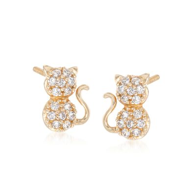 Child's .15 ct. t.w. CZ Cat Stud Earrings in 14kt Yellow Gold, , default