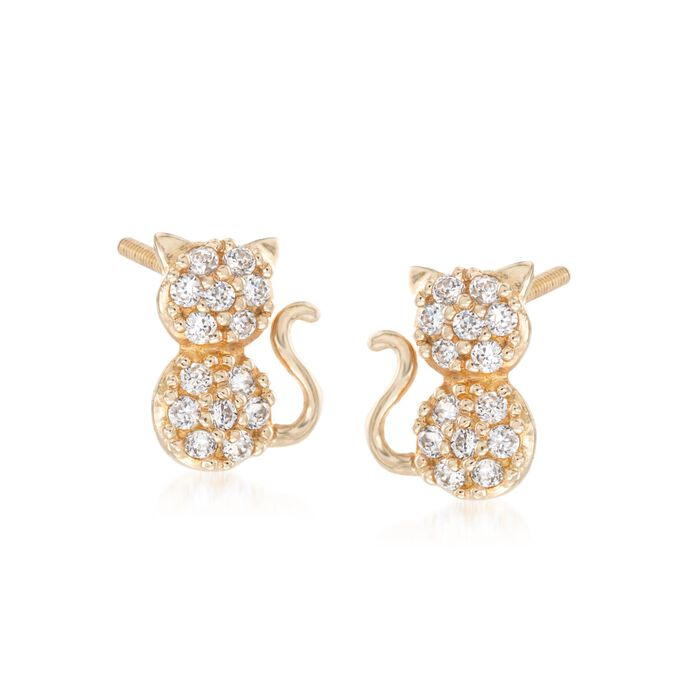 Child's .15 ct. t.w. CZ Cat Stud Earrings in 14kt Yellow Gold