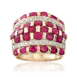 C. 1980 Vintage 5.60 ct. t.w. Ruby and .50 ct. t.w. Diamond Checkerboard Ring in 14kt Yellow Gold, , default