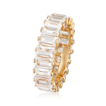 6.00 ct. t.w. Baguette CZ Eternity Band in 18kt Yellow Gold Over Sterling Silver, , default