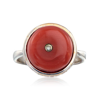 C. 1960 Vintage Carnelian and .25 ct. t.w. Diamond Ring in 18kt White Gold, , default