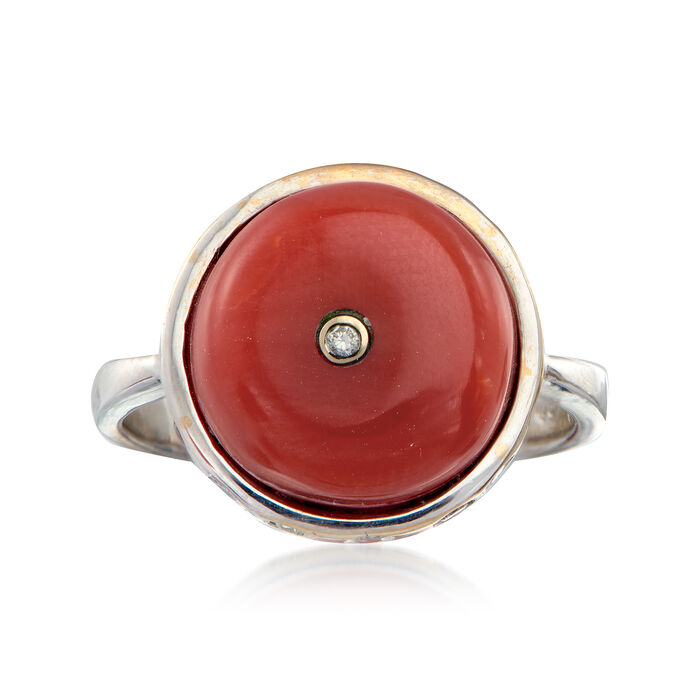 C. 1960 Vintage Carnelian and .25 ct. t.w. Diamond Ring in 18kt White Gold. Size 6.25, , default