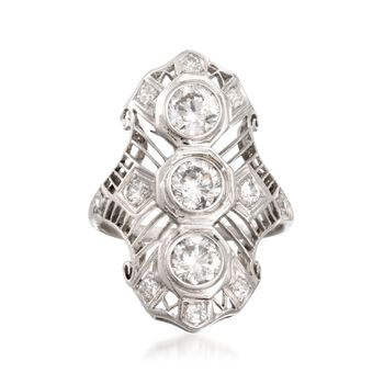 C. 1990 Vintage 1.30 ct. t.w. Diamond Dinner Ring in Platinum. Size 5.75, , default