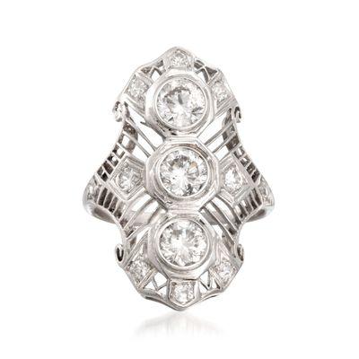 C. 1990 Vintage 1.30 ct. t.w. Diamond Dinner Ring in Platinum, , default