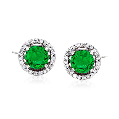 1.60 ct. t.w. Simulated Emerald and .20 ct. t.w. CZ Earrings in Sterling Silver, , default