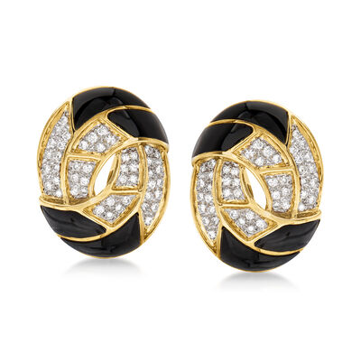C. 1980 Vintage Black Onyx and 1.12 ct. t.w. Diamond Clip-On Earrings in 18kt Yellow Gold