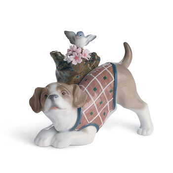 "Lladro ""Blossoms for the Puppy"" Porcelain Figurine, , default"