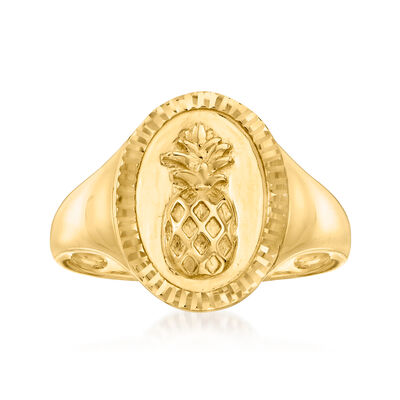 14kt Yellow Gold Pineapple Signet Ring