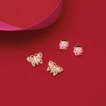 Child's 14kt Yellow Gold and  Pink Enamel Butterfly Earrings , , default
