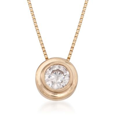 .25 Carat Double Bezel-Set Diamond Solitaire Necklace in 14kt Yellow Gold, , default