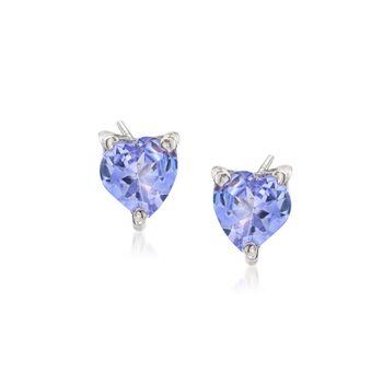 .90 ct. t.w. Tanzanite Heart Stud Earrings in Sterling Silver, , default