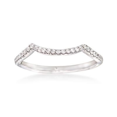 Gabriel Designs .16 ct. t.w. Diamond Curved Wedding Ring in 14kt White Gold, , default