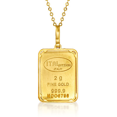 Italian 24kt Yellow Gold and 14kt Yellow Gold Two-Gram Ingot Bar Pendant Necklace