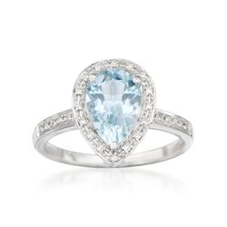 1.50 Carat Aquamarine and .10 ct. t.w. Diamond Ring in 14kt White Gold, , default