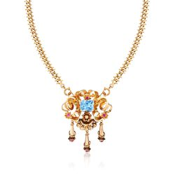 "C. 1940 Vintage 6.40 Carat Blue Synthetic Spinel and .90 ct. t.w. Synthetic Ruby Necklace in 18kt Yellow Gold. 19.5"", , default"
