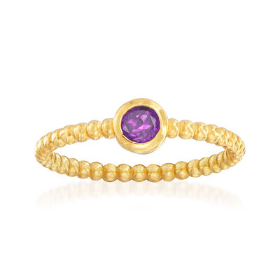 "Phillip Gavriel ""Popcorn"" .20 Carat Amethyst Beaded Ring in 14kt Yellow Gold"