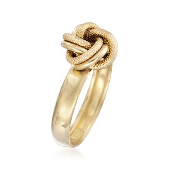 Italian 14kt Yellow Gold Textured and Polished Knot Ring, , default