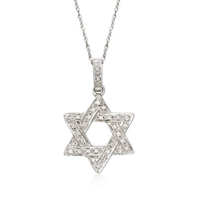 .18 ct. t.w. Diamond Star of David Necklace in 14kt White Gold, , default