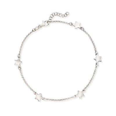 Italian Sterling Silver Star Station Anklet, , default