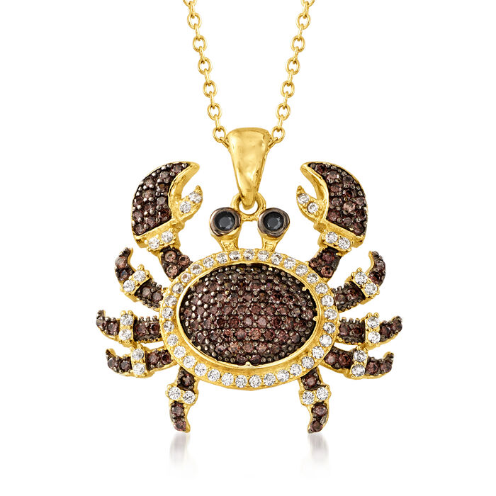 .74 ct. t.w. Brown, White and Black CZ Crab Pendant Necklace in 18kt Gold Over Sterling