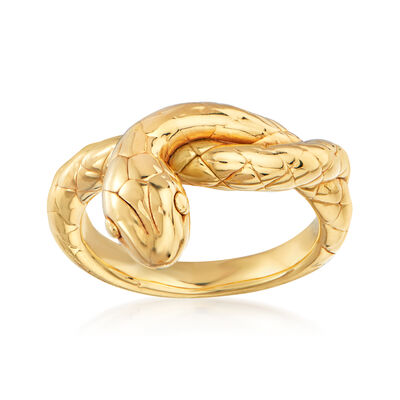 Italian 14kt Yellow Gold Snake Ring, , default
